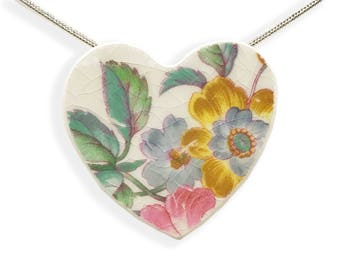 Convertible Heart Necklace. Heart Pin. Unique Jewelry. Floral Art. Hand Made Jewelry. Floral. Vintage Broken China. Gift Box. Silver Chain