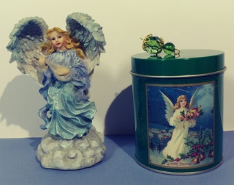 "Set of 2 Angelic Duo Blue Robe 5""Tall Angel Figurine Emerald Green Scented Candle Tin Decorative Christian Display Collector Collection Gift"