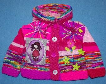 VEST 6 months original knitted hands Pixie hood