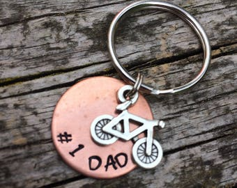 Dad bike keyring, Father's Day gift. Number 1 dad.