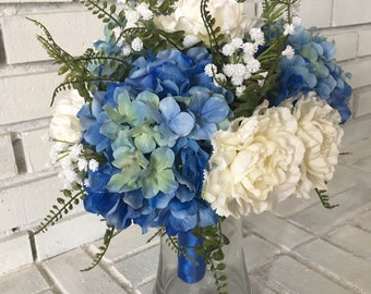 Blue Hydrangea and White Carnation Wedding Bouquet