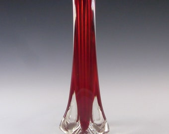 Whitefriars/Baxter Ruby Red Glass Three Sided Vase 9570