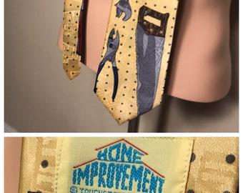 Vintage Tools handyman neck tie // retro funny home improvement Tim allen tool time tie // mens neck tie dress tie // 90s retro rare
