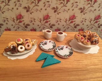 Dollhouse Miniature Pastries and Coffee