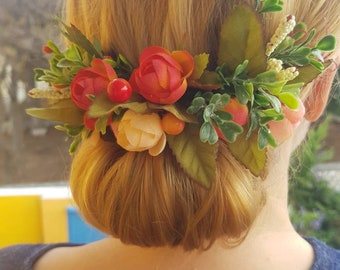 Autumn flower comb etsy bridal hair comb coral orange yellow flowers berries and greenery woodland wedding accessory boho style autumn wedding flower girls hair mightylinksfo