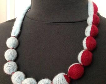 Blue & Cranberry Color-Blocked Vintage Cashmere Necklace