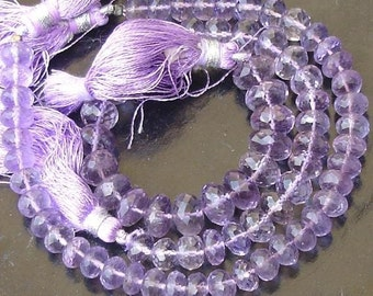 7-8mm, AAA Finest Quality Lavendar PINK AMETHYST Micro Faceted Roundells,Full 8 Inch Long Strand,