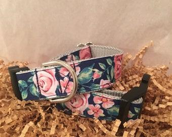 Dog Collar- navy with roses- handmade