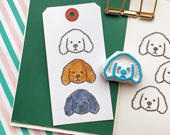 toy poodle rubber stamp | puppy dog | animal stamp | gift for dog lovers | card making | diy party favor bags | hand carved by talktothesun