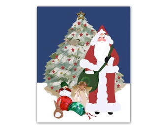 Christmas Tree with Star Print, JPEG file instant download