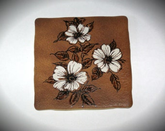 "Semigres Tile/Trivet - White Flowers 6"" x 6"" Made in Italy"
