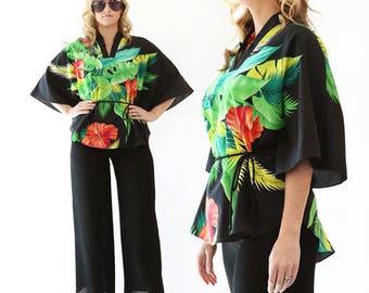 Vintage 80s Tropical Hawaiian floral Hibiscus batwing dress shirt TOP blouse S