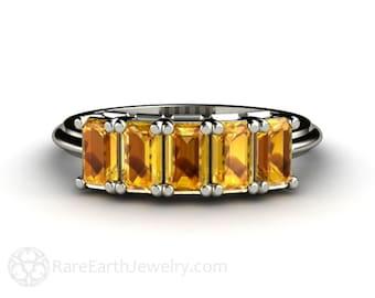 Yellow Sapphire Band Yellow Sapphire Ring Anniversary Band Wedding Ring Gemstone Ring