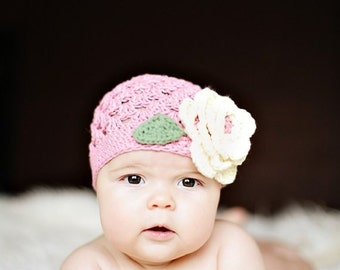 "Beanie Hat Crocheted  ""The Luci"" Country Pink/Ecru/Sage Open Weave Beanie"