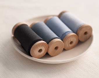 Blue silk ribbon set, silk ribbon, hand dyed ribbon, Bouquet ribbon, vintage ribbon, gift wrap, floral wrap, ribbon, hand dyed ribbon