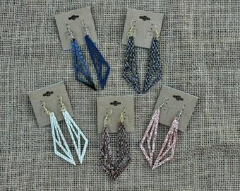 Geometric faux leather earrings