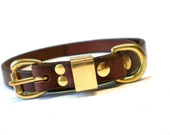 """5/8"""" Rich Brown Chahin English Bridle Leather Plain Dog Collar with Solid Brass Hardware and Brass Keeper"""