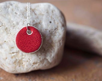 """Red Ceramic Circle Pendant ~ Necklace ~ Jewellery ~ Handmade ~ Sterling Silver ~ 925 ~ 18"""" Chain ~ Gifts for Her"""