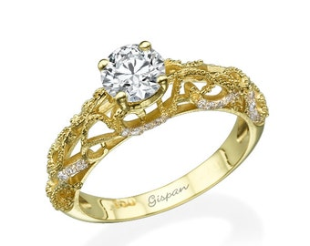 Antique Engagement Ring, Unique Engagement Ring, Yellow Gold Ring, Art Deco Ring, Diamond Ring, Milgrain Ring, Prong Ring,