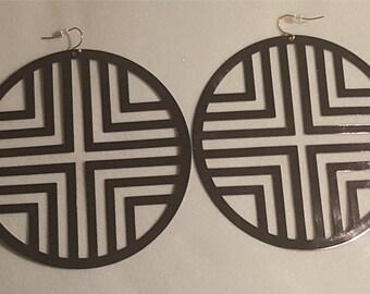 Black Flat Disc earrings