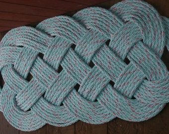"""Outdoor Rope Rug 35"""" X 15""""  Doormat  Blue with Specks of Green and Red Splash of Color Nautical Beach Decor"""