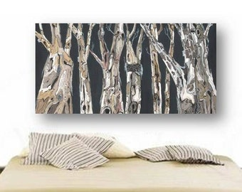 Oversized extra large wall Art Long tree trunks masculine artwork modern rustic canvas print office living dining room decor bedroom art