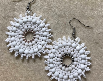 Hoop Earrings - Beaded hoop earrings - Hoop Earrings - Seed Bead Earrings  Native American Free Shipping Available