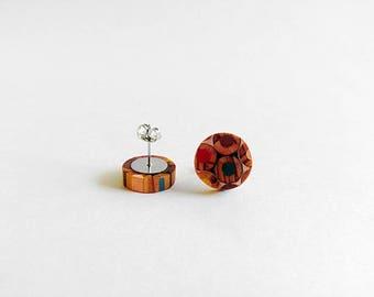 Colored Pencil,Wooden Stud Earrings, Earrings for Women, Gift For Her, Wooden Earrings, Minimalist Earrings, Wooden Jewelry, Unique Earrings