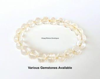 8mm Genuine Grade A Citrine Bracelet-Citrine Bracelet-November Birthstone-Yellow Crystal Bracelet-Solar Plexus Chakra-Natural Citrine