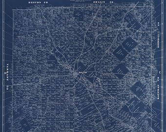 Dallas canvas map etsy blueprint map of dallas from 1884 canvas print malvernweather Choice Image