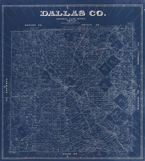 Blueprint map of dallas from 1884 canvas print malvernweather Choice Image