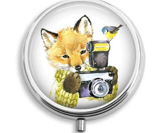 Fox With Camera and Bird Friend Pill Box Case Trinket Box Vitamin Holder Medicine Box Mint Tin Gifts For Her