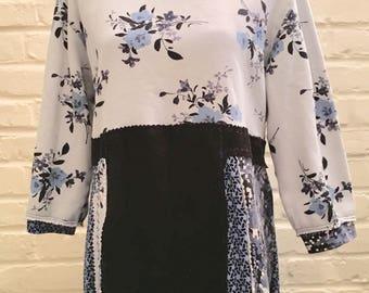 Upcycled Bohemian Tunic, Gypsy, Patchwork,OOAK, Romantic,Sweatshirt, Repurposed, Wearable Art, Large Dress