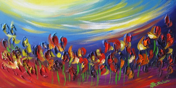 "red tulip painting, tulip art, impressionistic painting, red flower painting, floral garden art, butterfly painting 10""x20"" Yin Lum YINART"