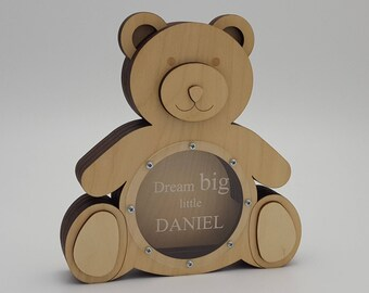 Bear Wooden piggy bank Personalized gift Baby gift First birthday present Woodworking Kids room decor Woodland animals Wildlife For kids