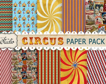 Circus Papers Digital, Instant Download, Scrapbook paper, Cards, Carnival Decorations, craft supplies, red, yellow background paper, stripes