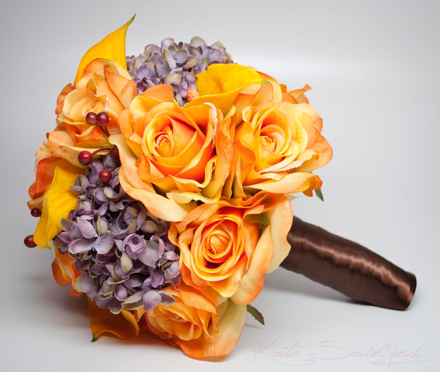 Rustic Orange Wedding Bouquet Burnt Rose Calla Lily