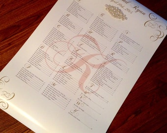 Wedding Sign/Poster/Wedding Seating Chart/Bling