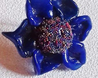 Porcelain blue flower ring
