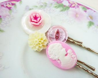 Cameo Hair Accessories, Pink Hair Pins, Pink Flower Hair Pins, Pretty Bobby Pin Set, Vintage Button Bobby Pin, Handmade By KreatedByKelly