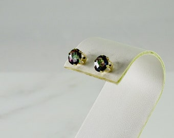 Mystic Topaz 14K Gold Stud Earrings