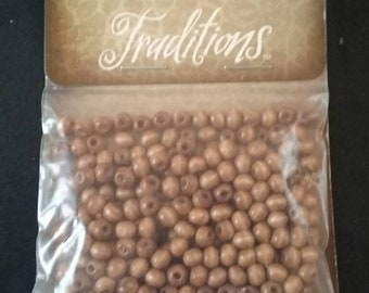 Tan Color Wooden Beads, Unused Jewelry Making Supplies, Unopened Package of Wooden Beads