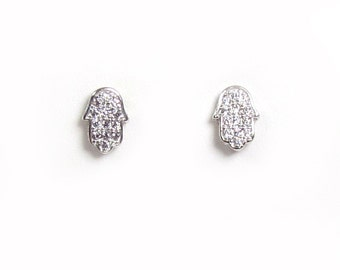 CZ Sideways Hamsa Hand Stud Earrings-- Sterling Silver Hamsa Hand Earrings, Silver CZ Hamsa Stud Earrings, Cubic Zirconia