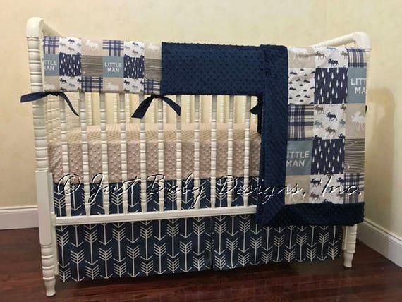Baby Boy Crib Bedding Little Man Moose Navy Arrows Navy