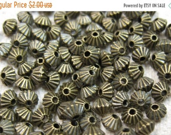 ON SALE 50 Corrugated Antique Bronze Bicone Spacer Beads 5mm x 4mm F319B