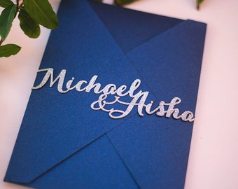 Laser Cut Belly Band with Custom Names in Calligraphy Font