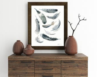 Black and white feather watercolor. Feather art print. Black and white art. Feather drawing. Tribal art from original watercolour painting.