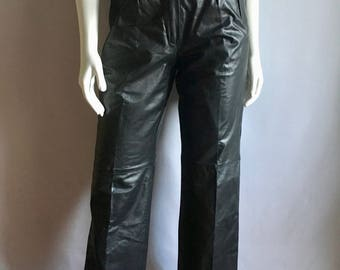 Vintage Women's 80's Black Leather Pants, High Waisted, Straight Leg by Comint (M)