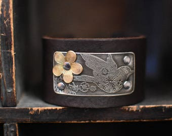 Artisan Leather Cuff- Etched Sparrow Leather Cuff Bracelet