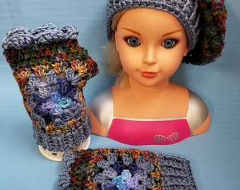 Fingerless Texting Gloves & Slouchy Beanie Hat Granny Square Blues Woman Lady Handmade Crochet by Bren
